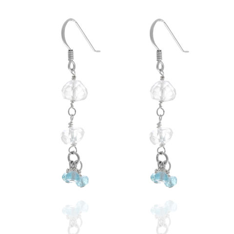 Aquamarine,and,apatite,sterling,silver,earrings, dangly earrings, blue gemstones, designer earrings, bespoke , aquamarine earrings