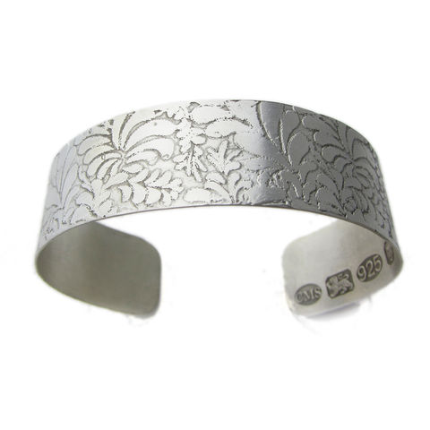 Volutes,etched,Silver,Open,Bangle,silver bangle, engraved bracelet,catherine marche,silver jewellery, statement jewellery