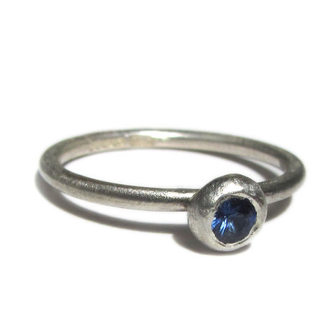 Blue,Sapphire,and,Sterling,Silver,Ring,-,Dash,of,brushed silver jewellery, blue sapphire, sapphire engagement ring, catherine marche jewellery, jeweller in london