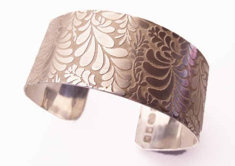 Volutes,Photo,etched,sterling,silver,Cuff,Bracelet,with,floral,pattern,-,medium,bespoke Jewelry,silver Bracelet,large Cuff,Parisienne,chic,volutes collection,bangle,cuff,etching,romantic,bracelet,designer,fashion,london,uk,sterling silver,silver cuff