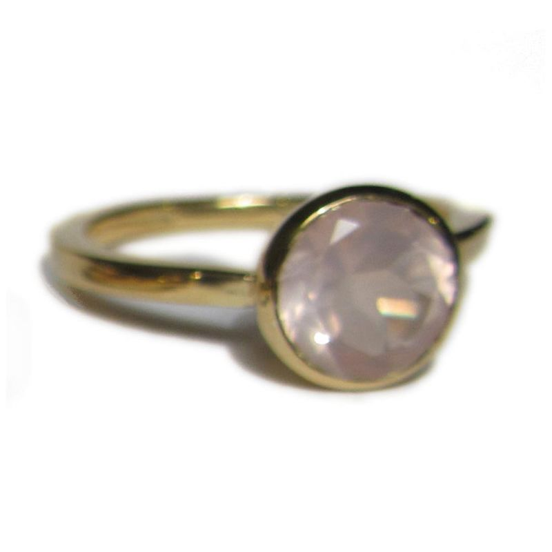 18CT Gold Cocktail Ring with a Rose Quartz Gemstone - product images  of