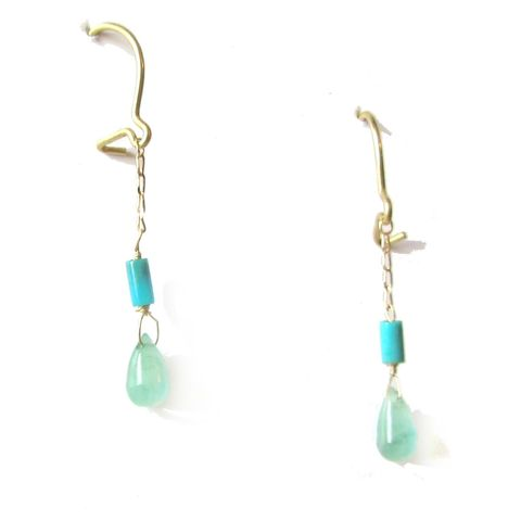 Emerald,and,Turquoise,Gold,Earrings,turquoise earrings, dangly gold earrings