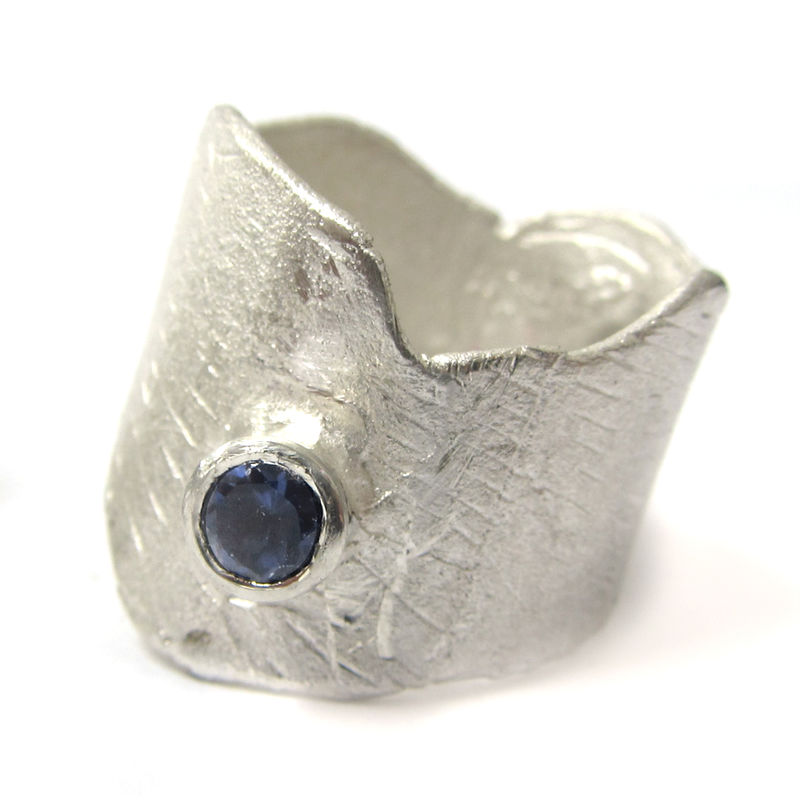 Sculptural Large Sterling silver Fashionista Ring with a blue Iolite Gemstone - product images  of