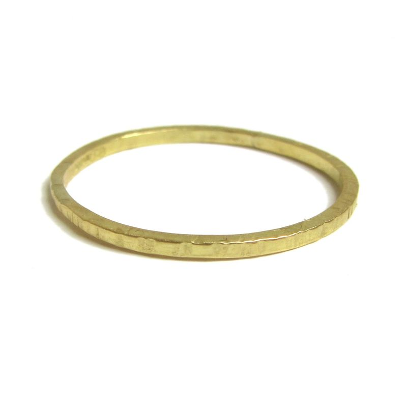 Textured 18K yellow gold stacking ring, small stacking ring - product images  of