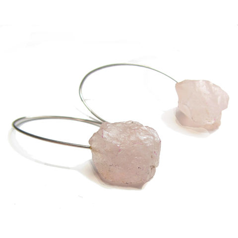 Rose,quartz,Nuggets,Earrings,in,sterling,silver,rose quartz earrings, rose quartz nuggets, powder pink,dangly earrings,catherine marche jewellery,gemstone nuggets, big earrings, yellow earrings, drop earrings, sterling silver earrings,catherine marche, jewellery london,the french touch