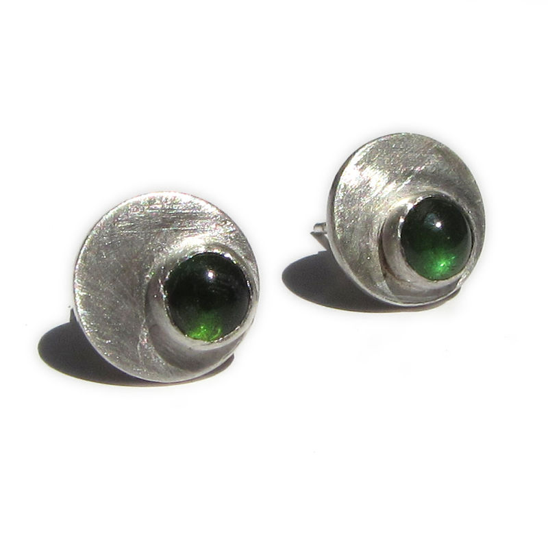 Green Tourmaline Dotty Spot Round Stud Earrings sterling silver - product images  of