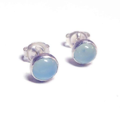 Aqua,Blue,Chalcedony,Stud,Earrings,in,sterling,silver,blue gemstone, aqua chalcedony, round stud earrings, chalcedony earrings, london jeweller, gifts for her, catherine marche