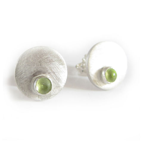 Dotty,Spot,Stud,Earrings,sterling,silver,and,peridot,cabochons,handmade Jewelry,peridot Earrings,jewellery in London,round stud earrings,cabochon,made in the uk,french designer,lime green,round earrings,ear studs,simple earrings,sterling silver,peridot jewellery,peridot cabochons,designer jewellery, handmade