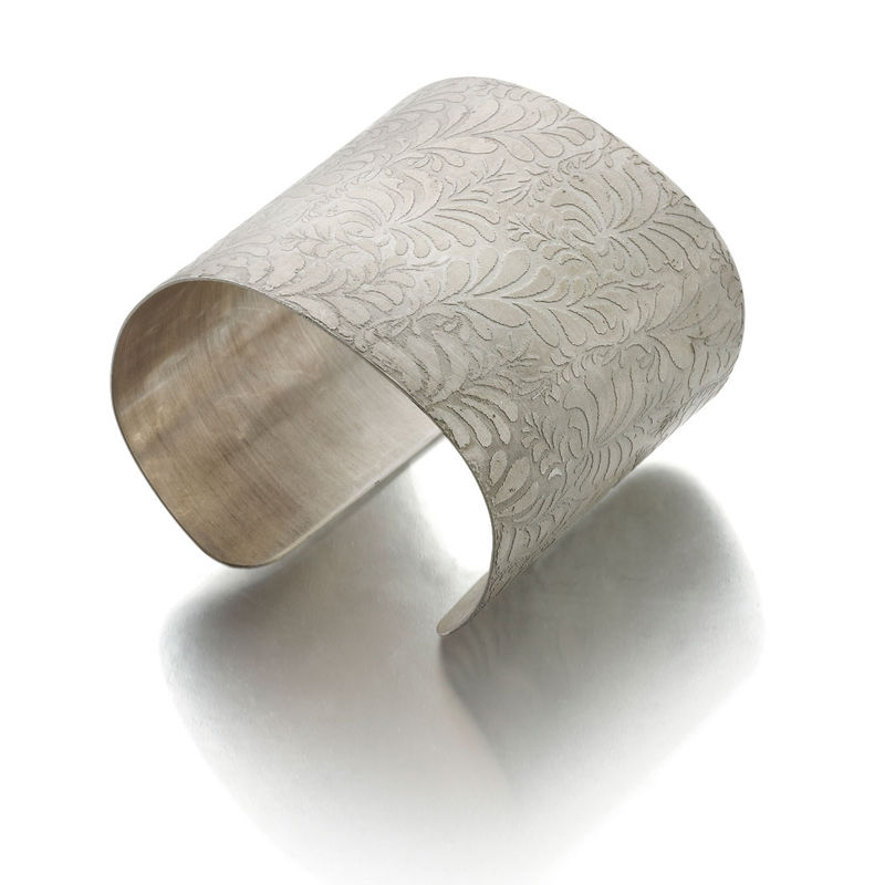 volutes photo etched sterling silver cuff bracelet with