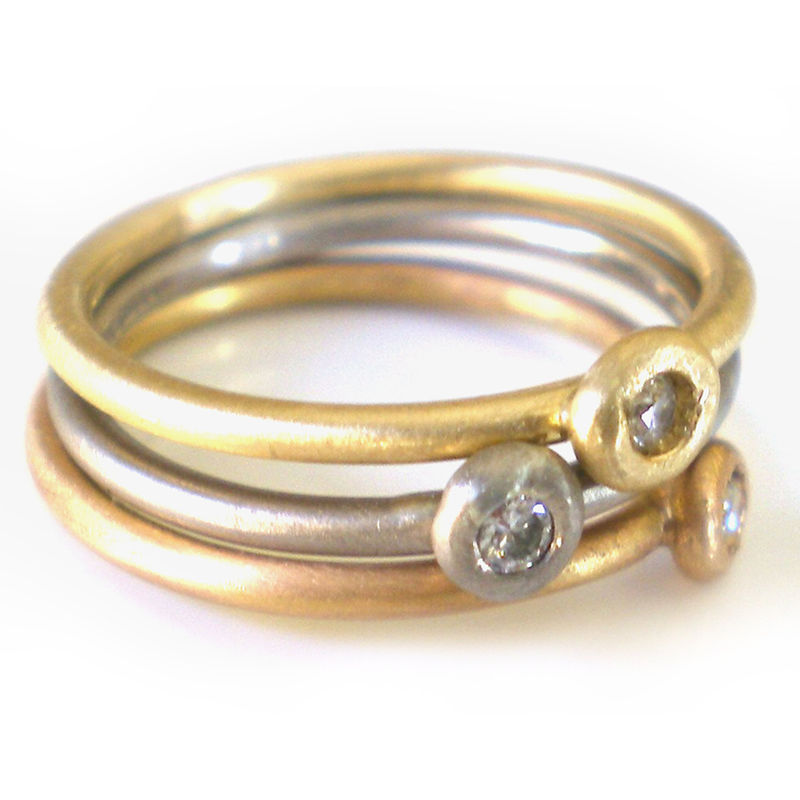 18K yellow gold ring with diamond stacking rings Catherine