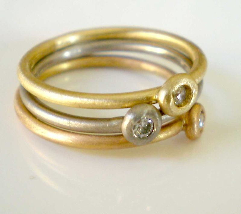 18K yellow gold ring with diamond stacking rings - product images  of