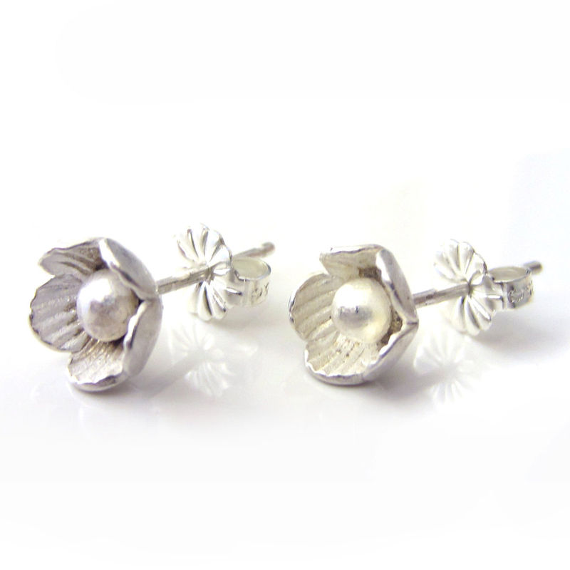 Flower Ear Studs In Sterling Silver Product Images Of