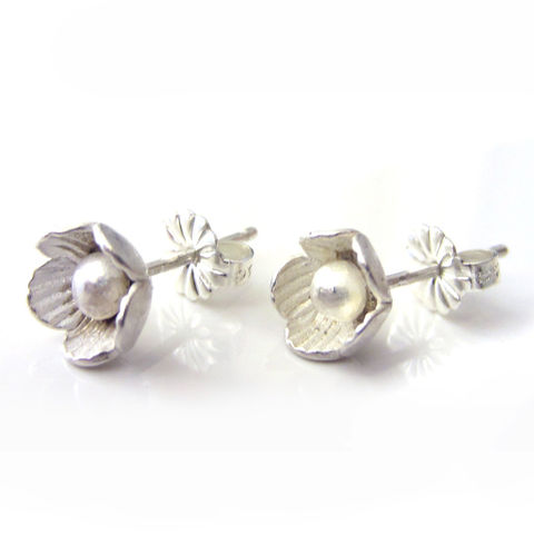 flower,Ear,studs,in,sterling,silver,Jewelry,Earrings,london,jewellery,jedeco,stud earrings,flowers,floral,blooms,metalwork,kalicat,uk_srjad,woman_her_mom,romantic,post earrings,silver ear studs,925,ag,sterling silver,argent,silber,argent massif