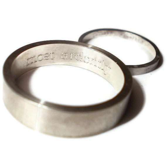 2 Wedding Rings Engraved Message Sterling Silver Bands Product Images Of