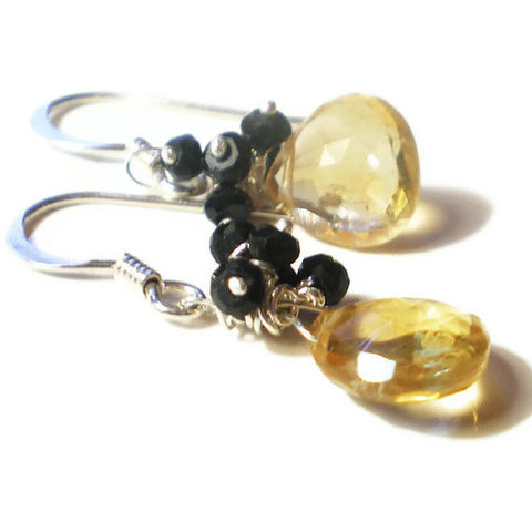 Honey,and,Caviar,citrine,spinel,silver,Earrings,citrine Earrings,gemstones cluster earrings,uk jewellery,drop earrings,dangly earrings,luxury fashion earrings,evening wear,present for wife,sterling silver,black onyx jewellery,argent massif,yellow and black