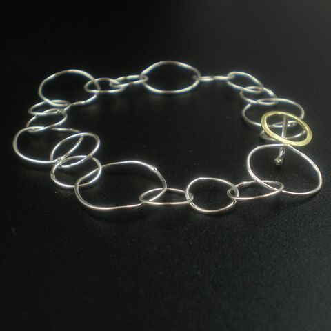 18K,gold,and,Sterling,Silver,Bracelet,-,Loopy,Jewelry,Metalwork,chain,sterling_silver,18k_gold,yellow,loops,round_circles,metalwork,goldsmith,kalicat,ajc_uk_msia_team,luxe_luxury,teamfrench,wife_spouse_woman,metal,925,18k,yellow gold,solid gold,18ct,karat,carat,or jaune,argent massif,st