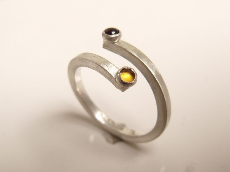 You and I a Sterling silver ring with citrine and onyx gemstones - product images  of