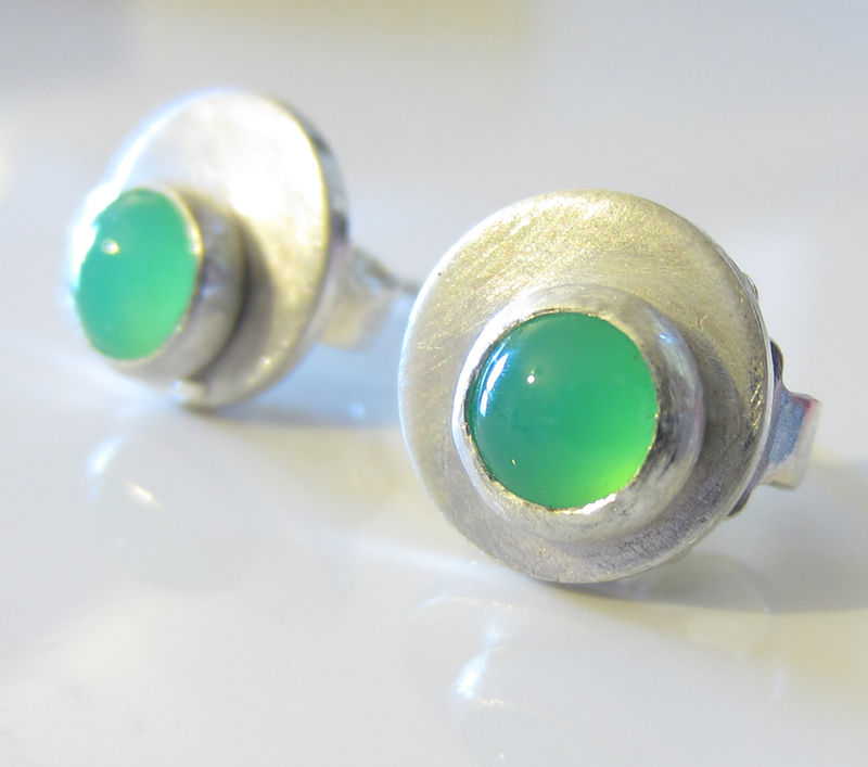 Dotty Spot Earrings sterling silver and green chrysoprase cabochon - product images  of