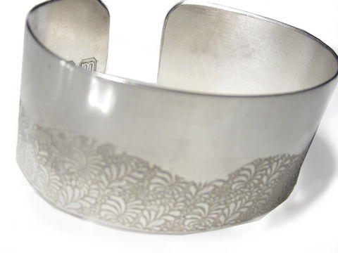Volutes,Photo,etched,sterling,silver,Cuff,Bracelet,with,Wave,floral,pattern,bespoke Jewelry,silver Bracelet,large Cuff,Parisienne,chic,volutes collection,bangle,cuff,etching,romantic,bracelet,designer,fashion,london,uk,sterling silver,silver cuff, tapestry
