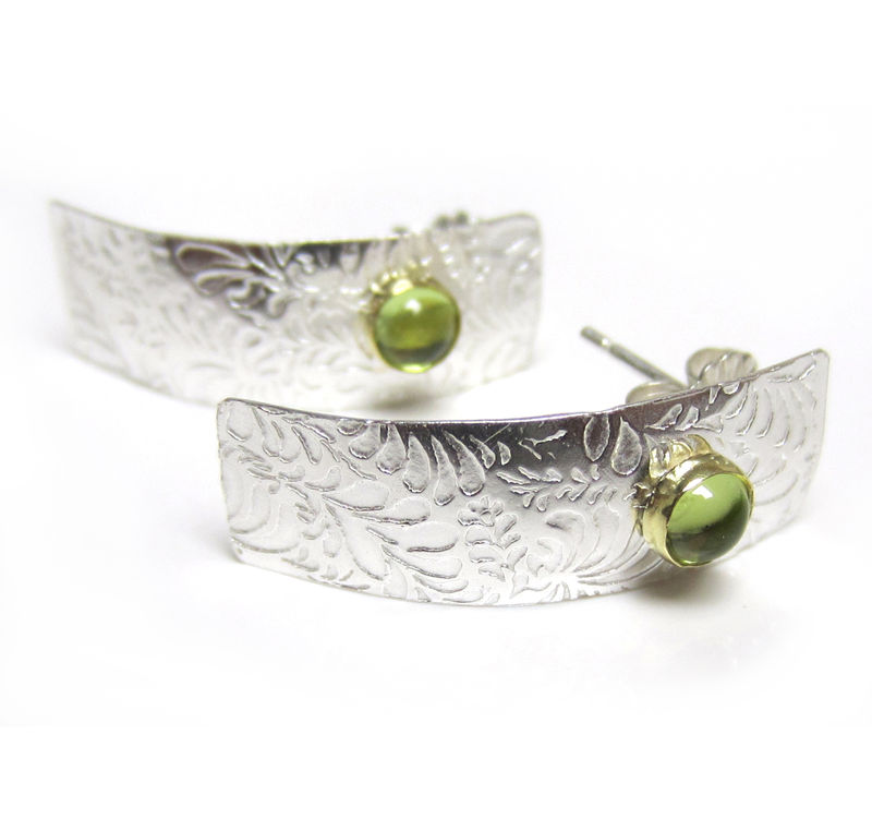 Sterling silver long Studs with Peridot - Volutes earrings - product images  of