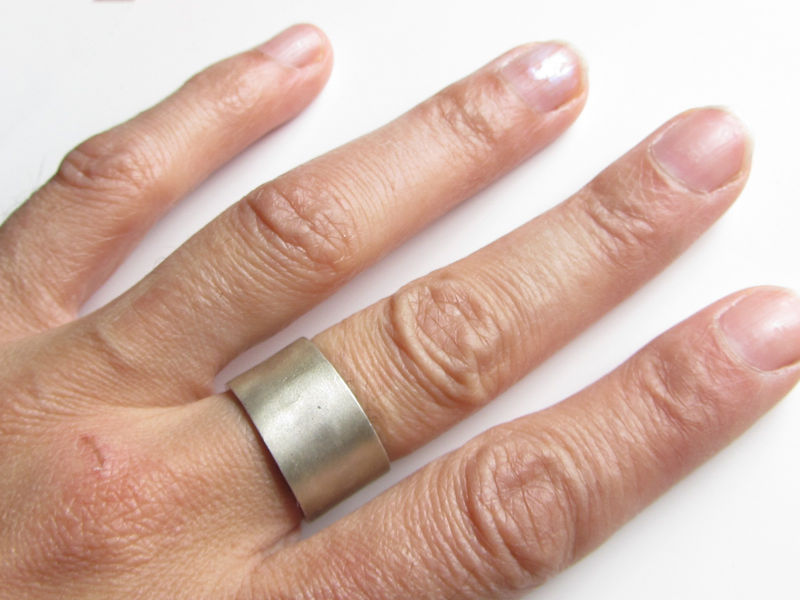 Large 8 mm Sterling Silver Ring  satin brushed finish - product images  of