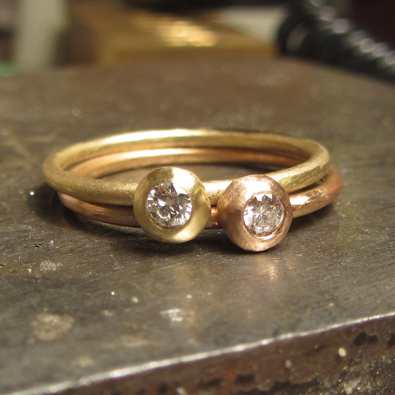 18 carat rose gold ring with diamond stacking rings - product images  of
