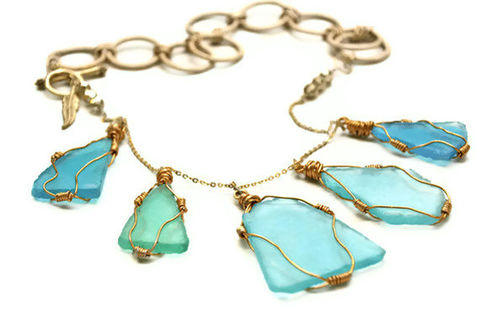 Blue,Sea,Glass,Gold,Wrapped,Necklace,Jewelry,Los_Angeles,Beach,Wire_wrapped,Beach_glass,Blue_glass,Light_blue,Rustic,Large_necklace,Original,Wire_wrapped_glass,california,Free_shipping,The_Artisan_Group,Bronze,Wire wrapped,Beach glass,Blue glass,22k gold,22k gold clasp,P