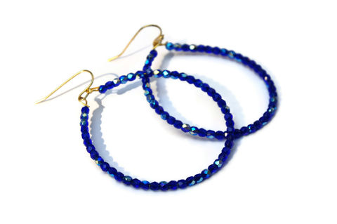 Brilliant,Blue,Czech,Glass,Hoops,Tags, Jewelry, Earrings, Glass, czech glass, blue czech glass, czech glass earrings, summer hoops, czech glass hoops, bright blue hoops, beaded hoops, boho chic hoops, bright blue glass, glass bead jewelry, czech glass jewelry, beach earrings, glass earri
