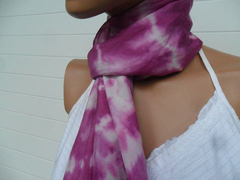Hand,Dyed,Silk,Scarf,10,x,60,Accessories