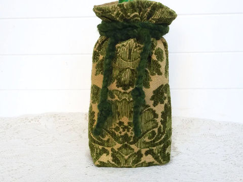 Wine,Bag,Green,Chenille,wine_bag