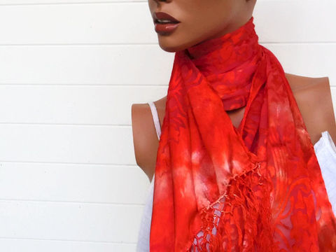 Hand,Dyed,Silk,Scarf,Accessories