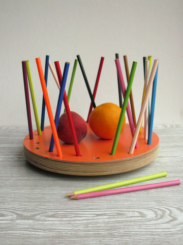 Pencil,Tidy,Fruit,Bowl,-,NEW,Tangerine,Edition,contemporary fruit bowl,tangerine colour,fruit basket,pencil tidy,eco-friendly design,loglike