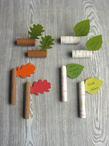 Twig,&,Leaf,Place,Markers,place settings,table name tags,place markers,name markers,woodland wedding decorations, party table decorations