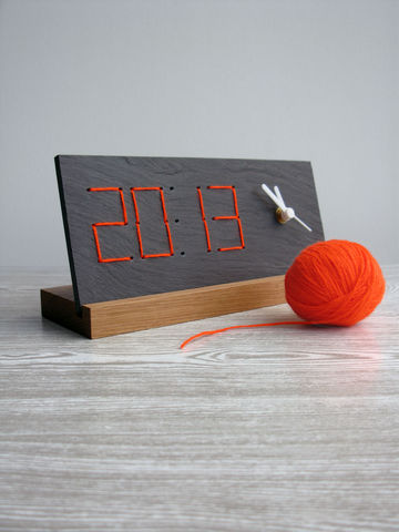 Yarn,Clock,desk clock,retro digital clock,quirky design,welsh slate,yarn clock,perpetual design,loglike