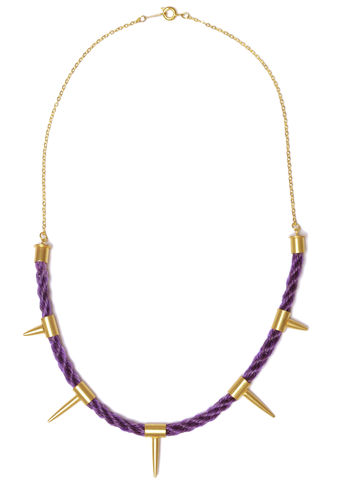 Dark,Unicorn,Neckpiece,-Purple,gold, purple, woven, studs, spikes