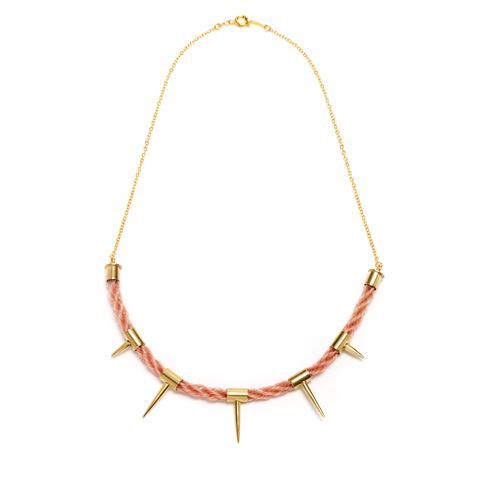 Unicorn,Neckpiece,Pink,hair, spikes, studs, gold, horsehair, unicorn, jewellery, jewelery