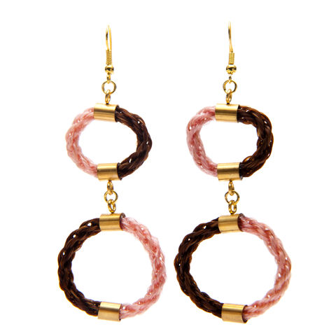 Tempus,Earrings,-,Pink,&,Brown,gold, earring, ear, jewellery, jewelery, woven, eco, horsehair, horse, hair, craft, design, fashion, victorian, mourning,