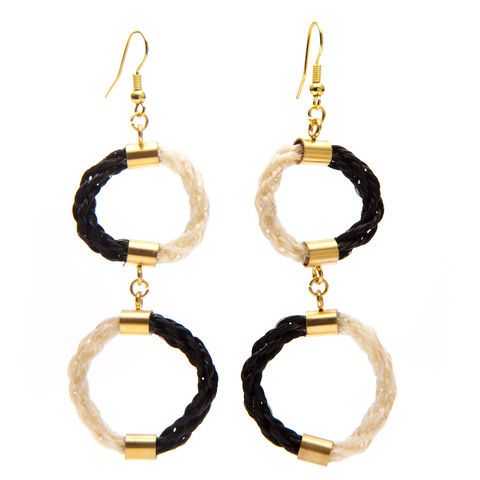 Tempus,Earrings,-,Monochrome,gold, earring, ear, jewellery, jewelery, woven, eco, horsehair, horse, hair, craft, design, fashion, victorian, mourning,
