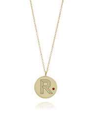 FACETT,INITIAL,NECKLACE,-,GOLD,WITH,RUBY,/,PERSONALISED