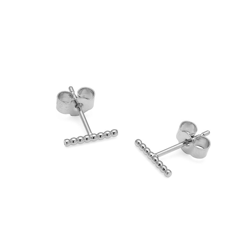 BALL BAR STUD EARRINGS - SILVER - product images  of