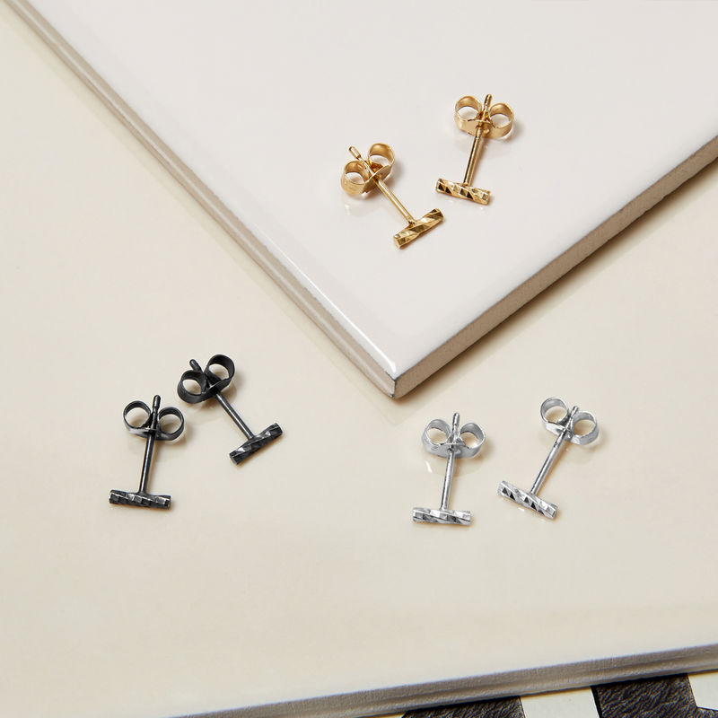 MINI DIAMOND BAR STUD EARRINGS - SILVER - product images  of