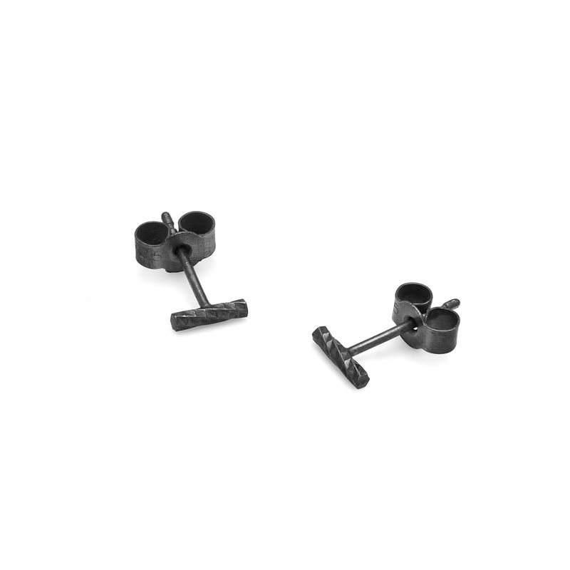 MINI DIAMOND BAR STUD EARRINGS - BLACK - product images  of
