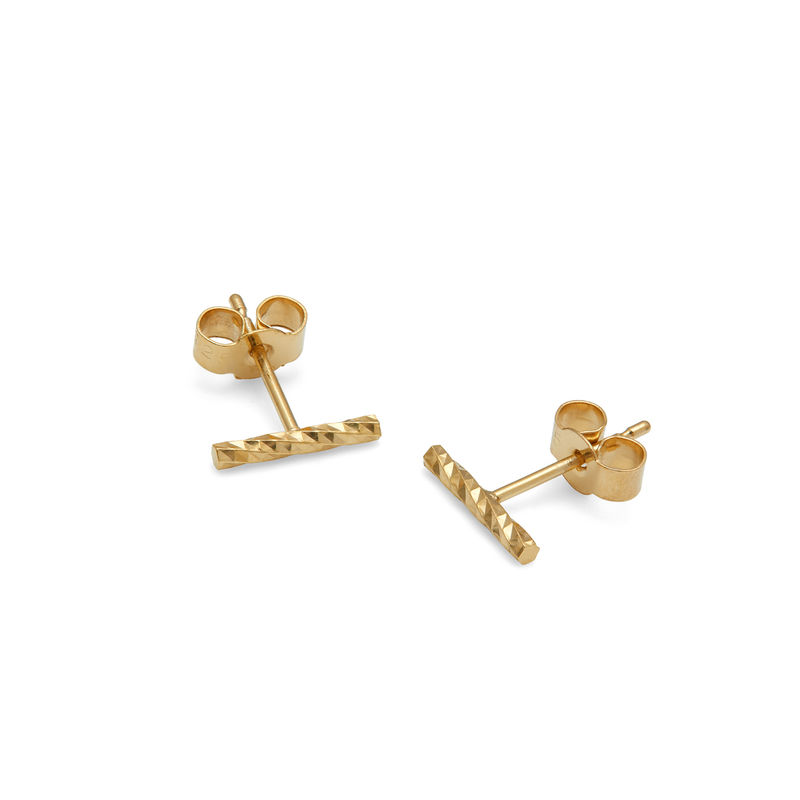 DIAMOND BAR STUD EARRINGS - GOLD - product images  of