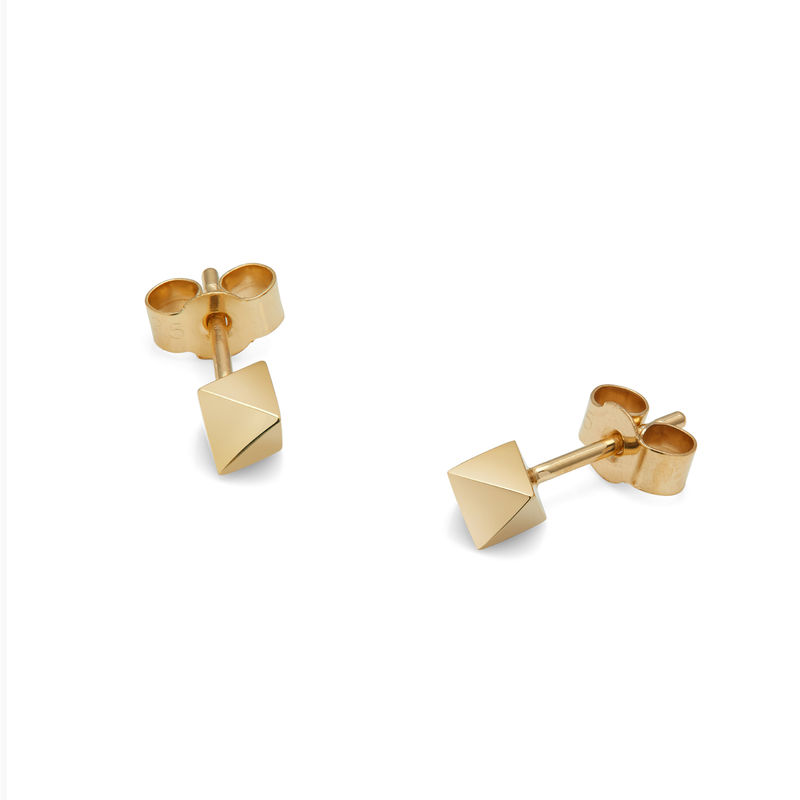 OCTAHEDRON STUD EARRINGS - GOLD - product images  of