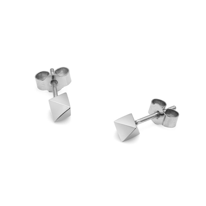 OCTAHEDRON STUD EARRINGS - SILVER - product images  of