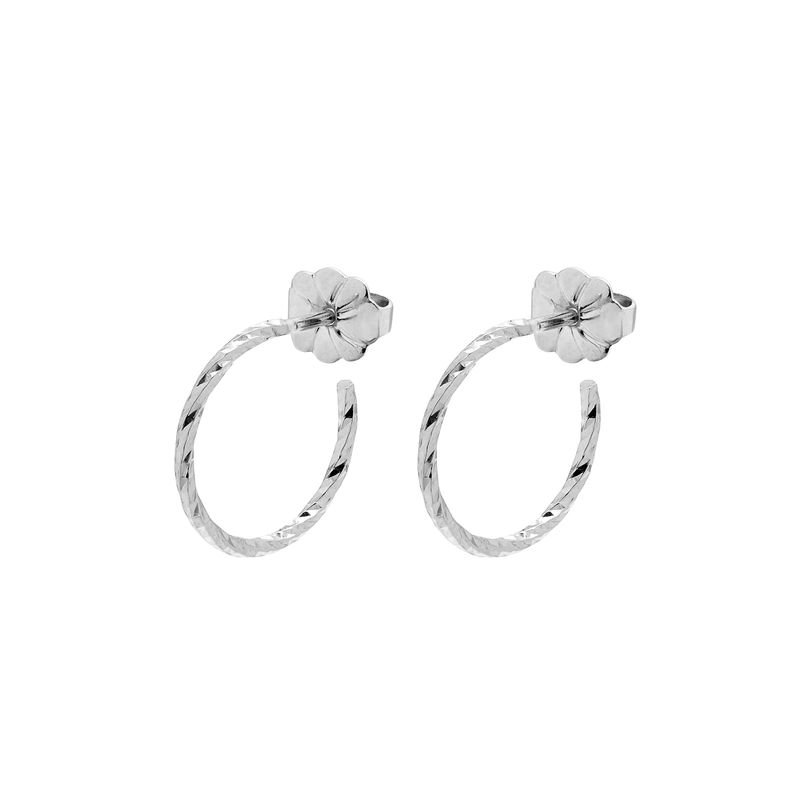 MINI DIAMOND HOOP EARRINGS - SILVER - product images  of