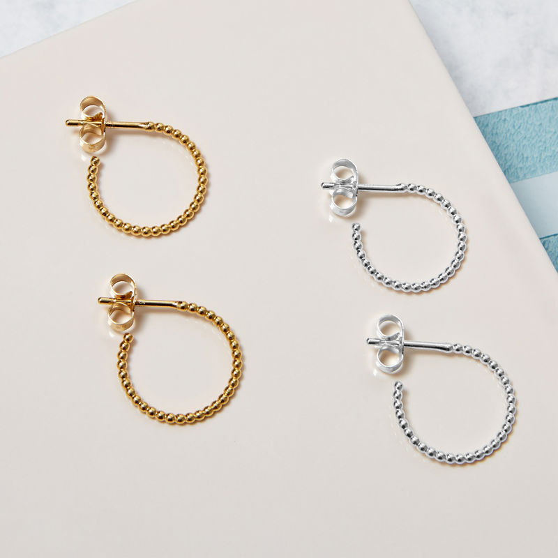 MINI BALL HOOP EARRINGS - SILVER - product images  of