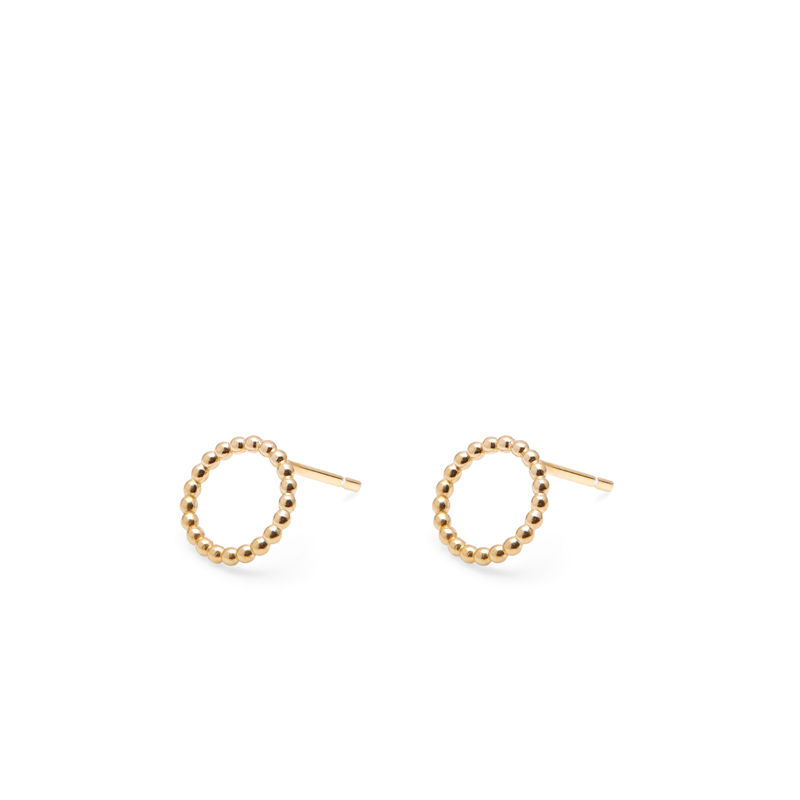 MINI CIRCLE BALL STUD EARRINGS - GOLD - product images  of