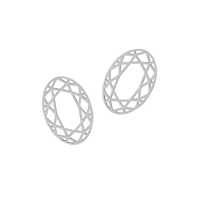 OVAL DIAMOND STUD EARRINGS - SILVER - product images  of