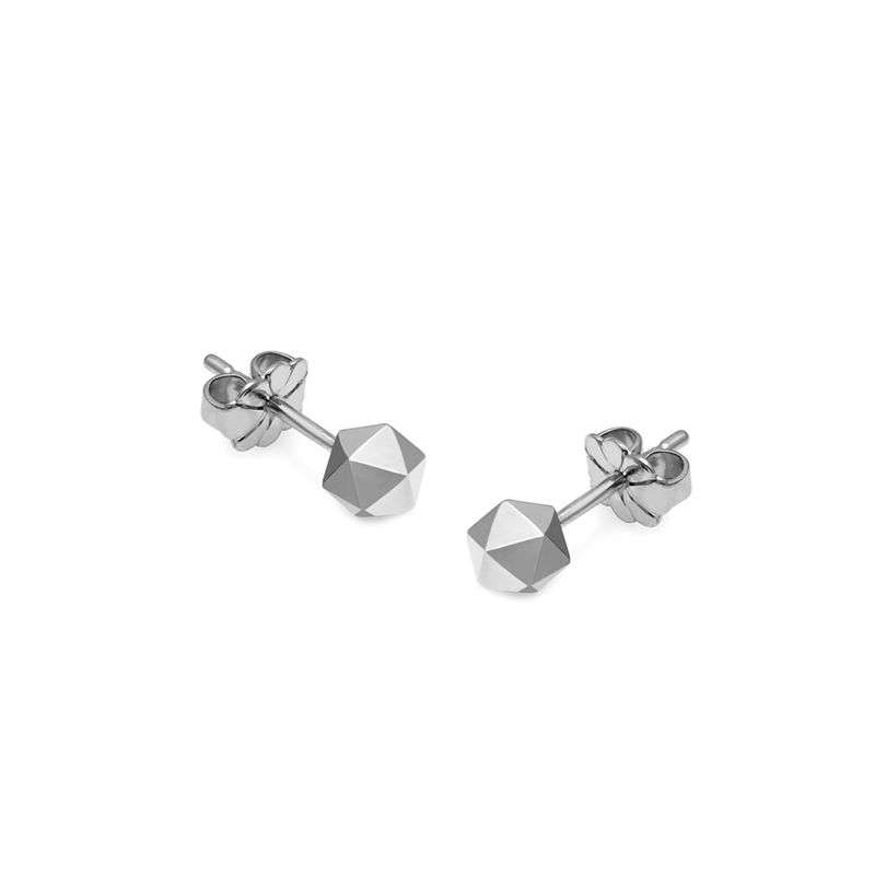 ICOSAHEDRON STUD EARRINGS - SILVER - product images  of